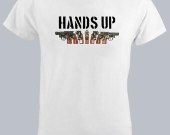 Hands UP Guns Set-Men Tshirt-Revolver-Colt-Gun T shirt-Gangster-Shooting-Gun-Gamer-Bloger