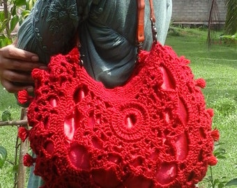 Crochet three layer bag with leather handles
