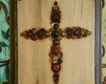 Christian Cross Button Art / Cross Picture / Button Art Canvas / Button Collage / Ooak Cross /Framed Canvas Art / Vintage Button Art