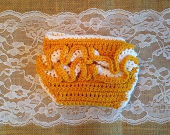 Ruffle Diaper Cover - Yellow & White