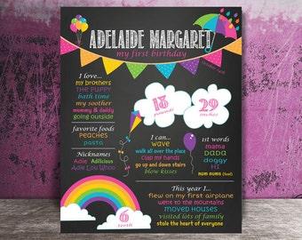 Girly Rainbow Birthday Board