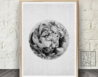 Circle flower print, Circle wall decor, Printable wall art, Flower photo, Modern decor, Scandinavian, Botanical poster #021
