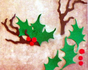 14 pc die cut card stock. (Makes 2) Holly branch Christmas, craft ,winter, fall, DIY, Scrap booking, Card making, Nature