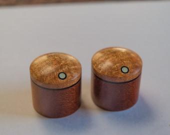 Flame Maple on Makore Set of 2 custom wood guitar knobs