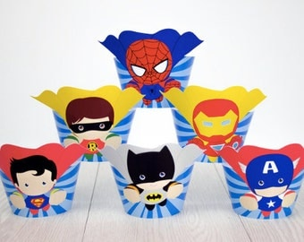 Superhero/Avengers Cupcake Wrappers and Toppers-Set of 12