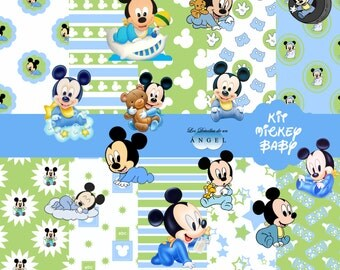Papers digital party Mickey Kit baby / Mickey baby Digital Papers Clipart