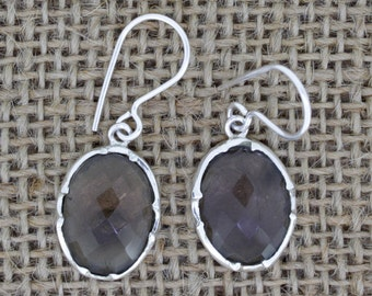 925 Sterling Silver Earrings - Smoky Quartz Faceted