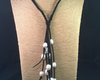 Black leather pearl necklace