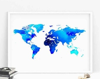 Watercolor World Map Print, World Map poster, World Map Wall Art Home Decor, Wanderlust, world map poster, travel map watercolor print