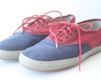 Vintage Keds Women's Size 7 | 1990s Canvas Corduroy Flats Nautical Red Blue Retro Flats Lace Up Corduroy Nautical 4th of July Shoes Sneakers