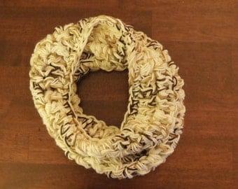 Brown/Tan/Cream Color Combination Crochet Cowl