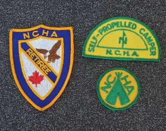 vintage 1980s NCHA sew on patches set of 3 free US shipping