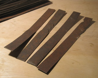 """Four 12"""" x 1-1/2"""" Rusty Sheet Metal Strips Reclaimed Assemblage Supply Art Supplies Distressed Metal Mixed Media Collage"""
