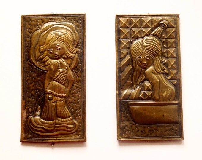 Vintage metal door plates toilet and bathroom Vintage door plate Vintage soviet WC Sign retro label for bathrooms Christmas gift