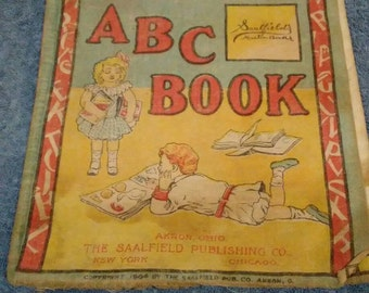 Antique Baby's A B C Book from Saalfield's muslin books