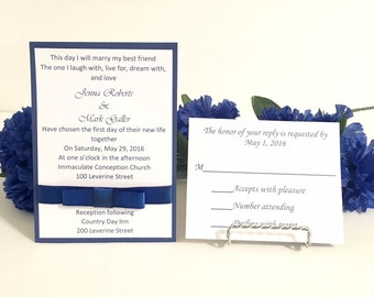 Royal Blue & White Wedding Invitation Set For Wedding/Birthdays/Holidays - Response Cards and Envelopes Included