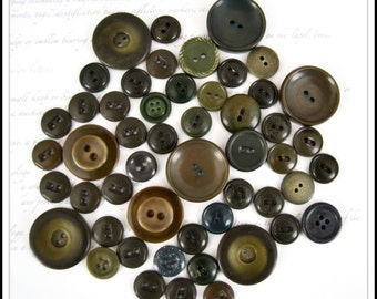 Shades of Olive Green Vintage Buttons - Drab Greens - Olive Green - Mossy Green