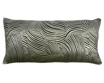 Metallic Leaves Lumbar Pillow Case - Neutral Decorative Cases, Indoor Black Silver Accent Throw Cushion Case - 25x12