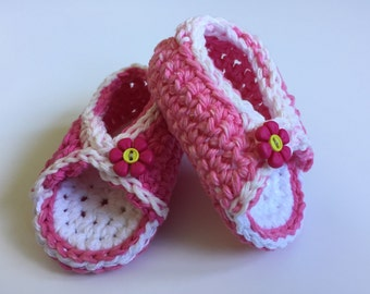 3-6 month girls peep toe sandal.  Pink and white variegated cotton crochet thread.