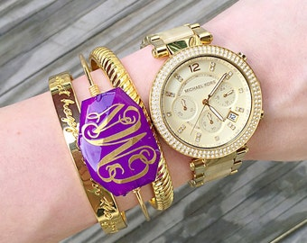 Gold Monogrammed Bauble Bracelet, Handmade, Monogrammed, Christina Vereb