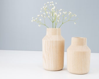 KLAVA wooden Vasen, Designvasen, table decorations, table accessories, ash, solid wood, set of 2