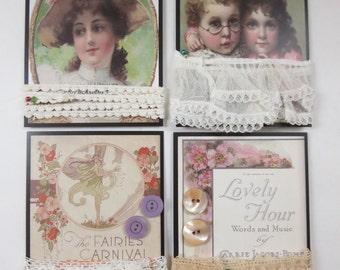 Antique & Vintage Button and Lace Sets 4 varieties