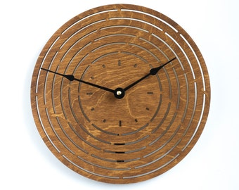 Modern Geometry Wood Clock, Oak Large wooden wall Clock, Sacred Geometry Clock, Mandala Clock, Unique Clock, Valentines day gift