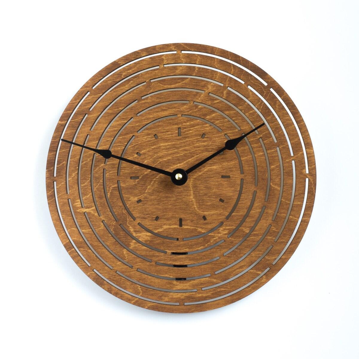 modern geometry wood clock oak large wooden wall clock