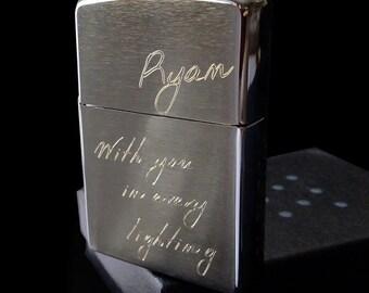 Personalized Brushed Chrome Zippo Lighter (4 Sizes Engraved)