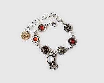 armband silber metall steampunk handmade handgefertigte edelstein einzelstck geschenk idee - Fantastisch Schussel Aus Knpfen