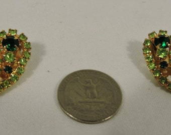 Vintage Emerald and Lime Clip on Earrings