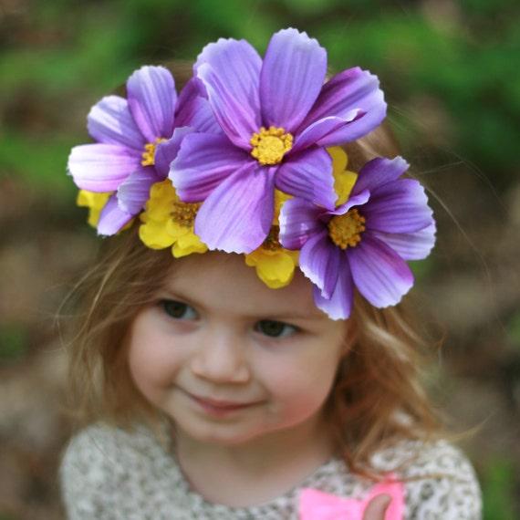Flower Crown Purple: Purple And Yellow Flower Crown Flower Headband Floral Crown
