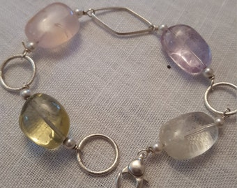 925% silver bracelet, Swarovski gem necklace