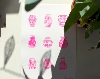 Plant Pots 1 colour Risograph print (limited run of 25)