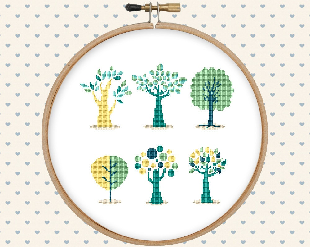 Tree cross stitch pattern pdf - instant download - digital download - pillow embroidered ...