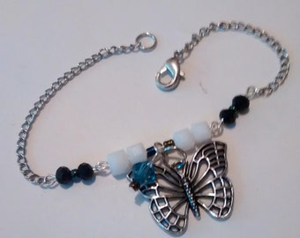 white butterfly gypsy junk bracelet