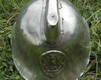 Firefighter helmet. Soviet metal helmet fire. Vintage helmet. 50's