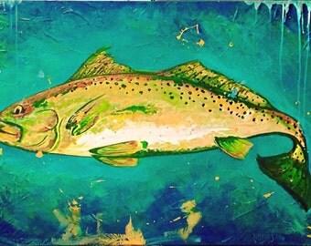 "Fish painting Fish Print Trout 8""x10"" Original Print Speckled Trout"