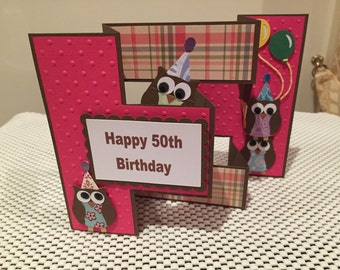 Handmade tri fold 50th Birthday card