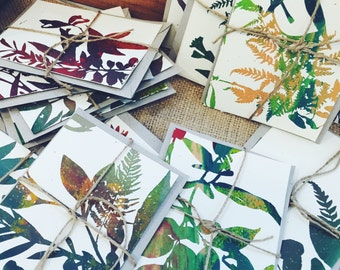 Biodegradable seeded cards - Hand screen printed - One of a kind