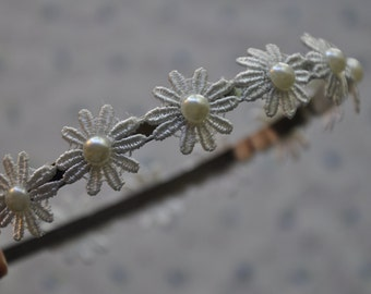 Pretty White Pearl and Flower Headband
