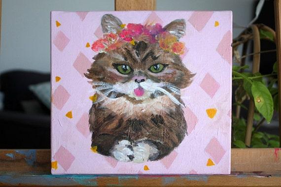 slusian kitty peinture acrylique ton rose 20 x 20 cm. Black Bedroom Furniture Sets. Home Design Ideas