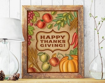 Happy Thanksgiving!, Thanksgiving sign, Give thanks print, Thanksgiving decor, Fall decoration, Autumn printable, Printable autumn print