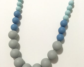 Blue Gray Silicone Teething Nursing Necklace