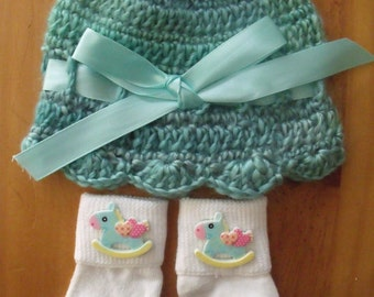 Crochet Baby Hat, Beanie, Sunhat w/Matching Socks Set - Blue w/Rocking Horse - Size 0-6 mts months - Great Baby Shower Gift! FREE SHIPPING!