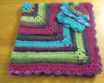 NEW Handmade Crochet Baby Blanket and Hat/Beanie Set - Colors Jewel Tone Striped - A Wonderful Baby Shower Gift!! - SEE NOTE!