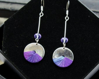 Drops of silver - violet earrings