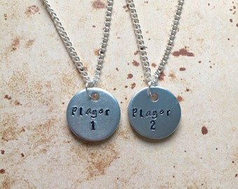 Player 1/Player 2 Gaming Couples Best Friends Necklace Set
