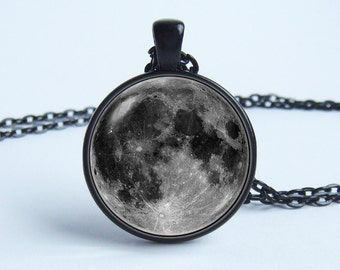 Moon necklace Grey moon pendant Full moon jewelry Pendant necklace Star planet lunar Planet necklace Galaxy jewelry Space Galaxy Universe