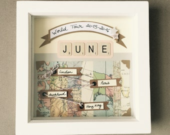 Baby gift frame personnalised travel theme